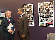 Ohio University President Roderick McDavis (Right) greets Ohio Attorney General Mike DeWine at Ohio University's Women's Center. Photo by Ben Siegel/ Ohio University