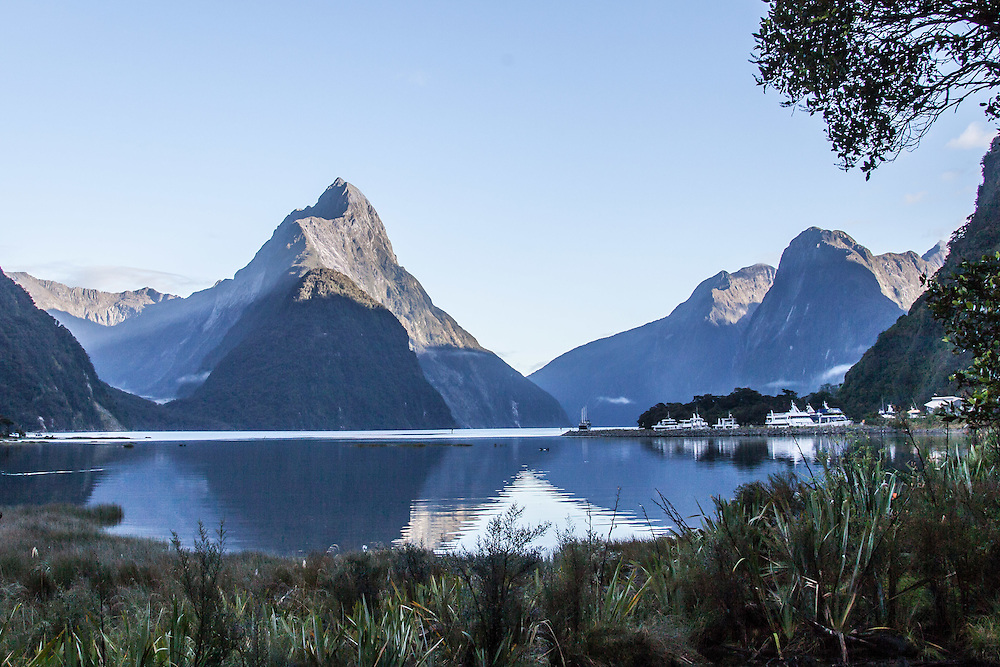 Mitre Peak at Milford Sound and the wharf.