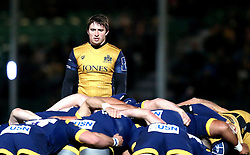 Rhodri Williams of Bristol Rugby watches over the scrum - Mandatory by-line: Robbie Stephenson/JMP - 04/11/2016 - RUGBY - Sixways Stadium - Worcester, England - Worcester Warriors v Bristol Rugby - Anglo Welsh Cup