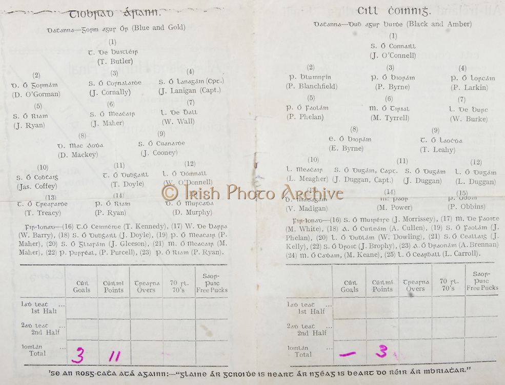 All Ireland Senior Hurling Championship Final, ..05.09.1937, 09.05.1937, 5th September 1937, .Tipperary 3-11, Kilkenny 0-3,.Minor Kilkenny v Cork, .Senior Tipperary v Kilkenny, .Fitzgerald Stadium, 05091937AISHCF,..Tipperary Senior Team, T Butler, Goalkeeper, D O'Gorman, Right corner-back, J Cornally, Full-back, J Lanigan, Captain, Left corner-back, J Ryan, Right half-back, J Maher, Centre half-back, W Wall, Left half-back, D Mackey, Midfielder, J Cooney, Midfielder, Jas Coffey, Right half-forward, T Doyle, Centre half-forward, W O'Donnell, Left half-forward, T Treacy, Right corner-forward, P Ryan, Centre forward, D Murphy, Left corner-forward, Substitutes, T Kennedy, W Barry, J Doyle, P Maher, J Gleeson, M Maher, P Purcell, P Ryan, ..Kilkenny Senior Team, J O'Connell, Goalkeeper, P Blanchfield, Right corner-back, P Byrne, Full-back, P Larkin, Left corner-back, P Phelan, Right half-back, M Tyrrell, Centre half-back, W Burke, Left half-back, E Byrne, Midfielder, T Leahy, Midfielder, L Meagher, Right half-forward, J Duggan, Captain, Centre half-forward, J Duggan, Centre half-forward, L Duggan, Left half-forward, V. Madigan, Right corner-forward, M. Power, Centre forward, P. Obbins, Left corner-forward, Substitutes, J. Morrissey, M. White, A. Cullen, J. Phelan, W. Dowling, J. Kelly, J. Brophy, A. Brennan, M. Keane, L. Carroll,
