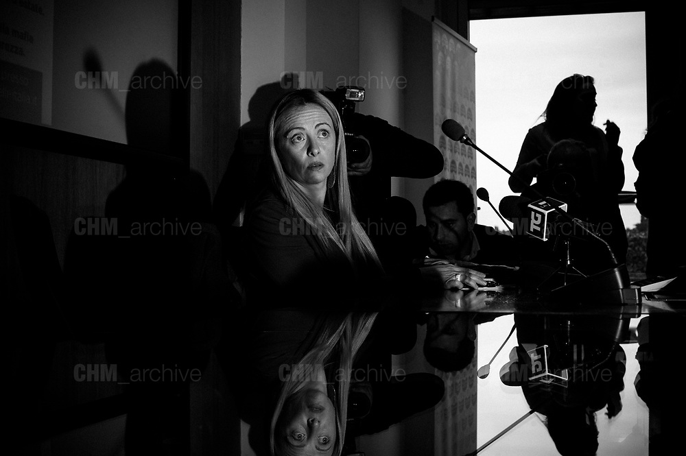 Giorgia Meloni during the press conference of Fratelli d'Italia party. Roma 15 March 2018. Christian Mantuano / OneShot