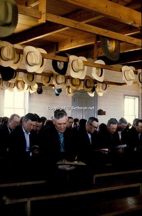 = Mexican menonites  Sunday mass in black dresses.  Ciudad Ghautemoc  Mexico    +