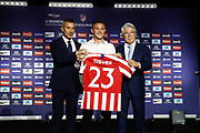 Kieran Trippier is presented as new player of Atletico de Madrid with Sport director Andrea Berta and President Enrique Cerezo (R) on July 18, 2019 at Wanda Metropolitano stadium in Madrid, Spain - Photo Oscar J Barroso / Spain ProSportsImages / DPPI / ProSportsImages / DPPI