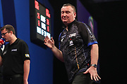 Glen Durrant reaction after missing a dart at a double during the Grand Slam of Darts, at Aldersley Leisure Village, Wolverhampton, United Kingdom on 17 November 2019.