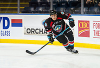 KELOWNA, CANADA - OCTOBER 23:  Lane Zablocki #27 of the Kelowna Rockets warms up against the Swift Current Broncos on October 23, 2018 at Prospera Place in Kelowna, British Columbia, Canada.  (Photo by Marissa Baecker/Shoot the Breeze)  *** Local Caption ***