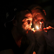 Recovering opioid addict Neal Catlett, of Lexington, Kentucky, left, with friend Andrew Grinstead spend the night smoking DMT in Lexington on Tuesday, October 17, 2017. Catlett, who wants to start a church using a more potent substance found in toad venom where a growing contingent of users believe the venom can help with reducing and ultimately overcoming many forms of addiction.