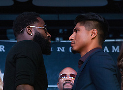 June 20, 2017 - Los Angeles, California, U.S - Adrien Broner and Mikey Garcia face-off  during a press conference to promote their  boxing match - Adrien Broner and Mikey Garcia super  lightweight showdown - held on Tuesday, June 20th, 2017,  at The Conga Room in Los Angeles, California. JAVIER  ROJAS/PI (Credit Image: © Prensa Internacional via ZUMA Wire)