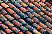 Red tiled roof in Cuenca's city center.  The Ecuadorian city is a UNESCO World Heritage Cultural Site.