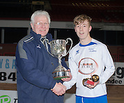 Reece Lornie of Grove Academy receives the Under 15s Senior Sports Cup from Dave Forbes of Sponsors Dundee FC Supporters Society after his side had beaten St Johns in the  Final at Dens Park<br /> <br /> <br />  - &copy; David Young - www.davidyoungphoto.co.uk - email: davidyoungphoto@gmail.com