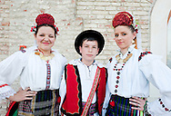 Brodsko kolo, Slavonski Brod, Croatia (8 June 2013). Folk dancing group KUD 'Brodski biseri' ('Tears of Brod'), from Bosanski Brod, photographed before performing on the second evening of the Festival, in the town fortress (tvrda). The Brodsko kolo, now in its 49th year, is the oldest folk dancing festival in Croatia.
