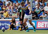 Liam Sutcliffe of Leeds Rhinos kicks the goal kick against Toulouse Olympique during the Betfred Super 8s Qualifiers match at Emerald Headingley Stadium, Leeds<br /> Picture by Stephen Gaunt/Focus Images Ltd +447904 833202<br /> 11/08/2018