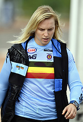 August 11, 2018 - Glasgow, UNITED KINGDOM - Belgian BMX cyclist Elke Vanhoof looks dejected after the Semifinal of the women's BMX event at the European Championships, in Glasgow, Scotland, Saturday 11 August 2018. European championships of several sports will be held in Glasgow from 03 to 12 August. BELGA PHOTO ERIC LALMAND (Credit Image: © Eric Lalmand/Belga via ZUMA Press)