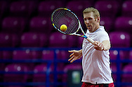 Chris Guccione from Australia while his trening session four days before the BNP Paribas Davis Cup 2013 between Poland and Australia at Torwar Hall in Warsaw on September 09, 2013.<br /> <br /> Poland, Warsaw, September 09, 2013<br /> <br /> Picture also available in RAW (NEF) or TIFF format on special request.<br /> <br /> For editorial use only. Any commercial or promotional use requires permission.<br /> <br /> Photo by © Adam Nurkiewicz / Mediasport