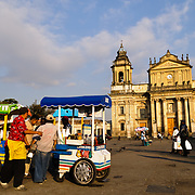 Parque Central (officially the Plaza de la Constitucion) in the center of Guatemala City, Guatemala.