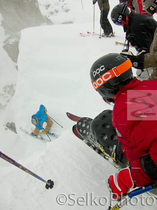 Chris Devlin-Young riding the tram, looking into Corbet's Couloir, and skiing Cheyene Bowl at the JHMR on March, 5, 2011.