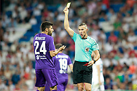 Spanish referee Ignacio Iglesias Villanueva show yellow card to ACF Fiorentina's Marco Benassi during Santiago Bernabeu Trophy. August 23,2017. (ALTERPHOTOS/Acero)