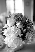 Wedding flowers on the table at the Berkeley City Club.