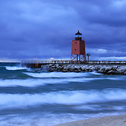 &quot;Charlevoix Lighthouses A Midst a Storm&quot;<br />
