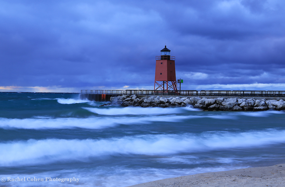 &quot;Charlevoix Lighthouses A Midst a Storm&quot;<br /> <br /> Scenic long exposure at the beautiful lighthouse in Charlevoix Michigan during a storm!!<br /> <br /> Lighthouses of the Great Lakes by Rachel Cohen