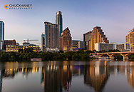 City skyline reflects in the Colorado River in Austin, Texas, USA