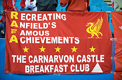 MADRID, SPAIN - Wednesday, October 22, 2008: Liverpool supporters and a banner 'Recreating Anfield's Famous Achievements - the Carnarvon Castle Breakfast Club' during the UEFA Champions League Group D match against Club Atletico de Madrid at the Vicente Calderon. (Photo by David Rawcliffe/Propaganda)