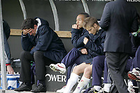 Livorno 17-4-05<br />Livorno Fiorentina Campionato serie A 2004-05<br />nella  foto da sx Giovanni Galli, Nakata e Jorgensen delusi per la sconfitta<br />Foto Snapshot / Graffiti