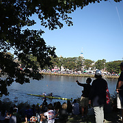 BOSTON, MASSACHUSETTS - OCTOBER 21: Spectators watching crews in action during The 53rd Head of the Charles Regatta on the Charles River which separates Boston and Cambridge, Massachusetts, USA. The Head of Charles, which began in 1965, attracts over 11,000 athletes from around the globe. The course is 3 miles (4,800 meters) long and stretches from the start at Boston University's DeWolfe Boathouse near the Charles River Basin, passing Harvard University to the finish just after the Eliot Bridge. Boston, Massachusetts. 21st October 2017. (Photo by Tim Clayton/Corbis via Getty Images)