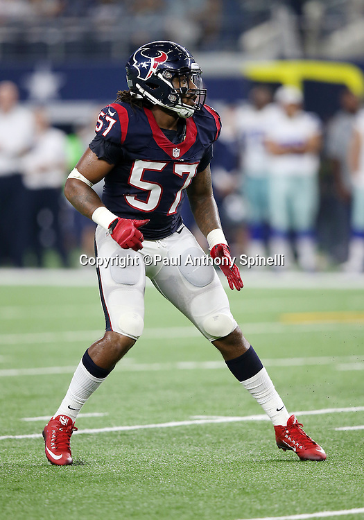 Houston Texans rookie inside linebacker Justin Tuggle (57) chases the action during the 2015 NFL preseason football game against the Dallas Cowboys on Thursday, Sept. 3, 2015 in Arlington, Texas. The Cowboys won the game 21-14. (©Paul Anthony Spinelli)