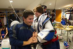 Sebastijan Smodis and Luka Gracnar in wardrobe prior to the Practice session of Slovenian U20 ice-hockey team, on December 08, 2011 in Ledena dvorana, Bled, Slovenia. (Photo By Vid Ponikvar / Sportida.com)