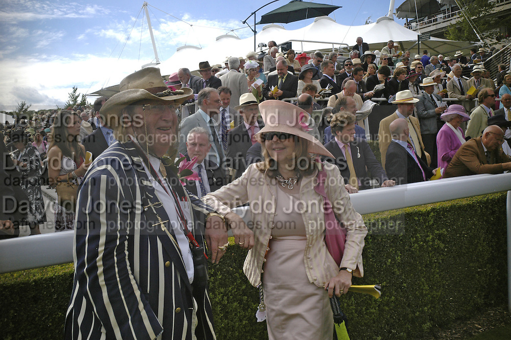 Mr. and Mrs. John and Jenny McCririck. Glorious Goodwood. 2 August 2007.  -DO NOT ARCHIVE-© Copyright Photograph by Dafydd Jones. 248 Clapham Rd. London SW9 0PZ. Tel 0207 820 0771. www.dafjones.com.