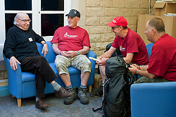 At St Dunstans Centre on Fullwood Road Sheffield  Billy Black,  Charlie Eastwood,  and Chris Lee who are all taking part in the Center2Centre March from Bristol to LLandudno a distance of 327 miles chat with St. Dunstan's Rudy Wessley.13th September2011 Image © Paul David Drabble