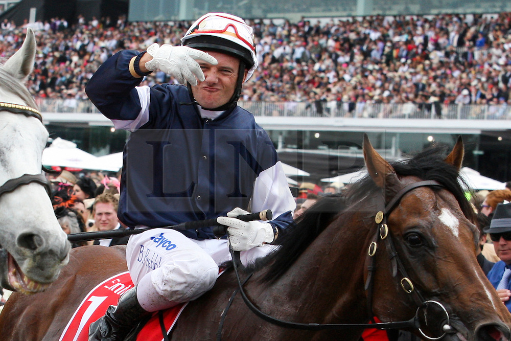 © Licensed to London News Pictures. 06/11/2012. Brett Prebble riding Green Moon celebrates winning the Emirates Melbourne Cup during the Emirates Melbourne Cup at the Flemington Racecourse, Melbourne. Photo credit : Asanka Brendon Ratnayake/LNP