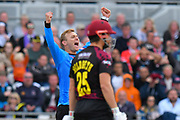 Wicket - Danny Briggs of Sussex celebrates taking the wicket of James Hildreth of Somerset during the Vitality T20 Finals Day semi final 2018 match between Sussex Sharks and Somerset County Cricket Club at Edgbaston, Birmingham, United Kingdom on 15 September 2018.