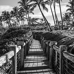 Wailea Beach Path black and white photo in Mokapu Beach Park in Wailea Makena Maui Hawaii. Copyright ⓒ 2019 Paul Velgos with All Rights Reserved.