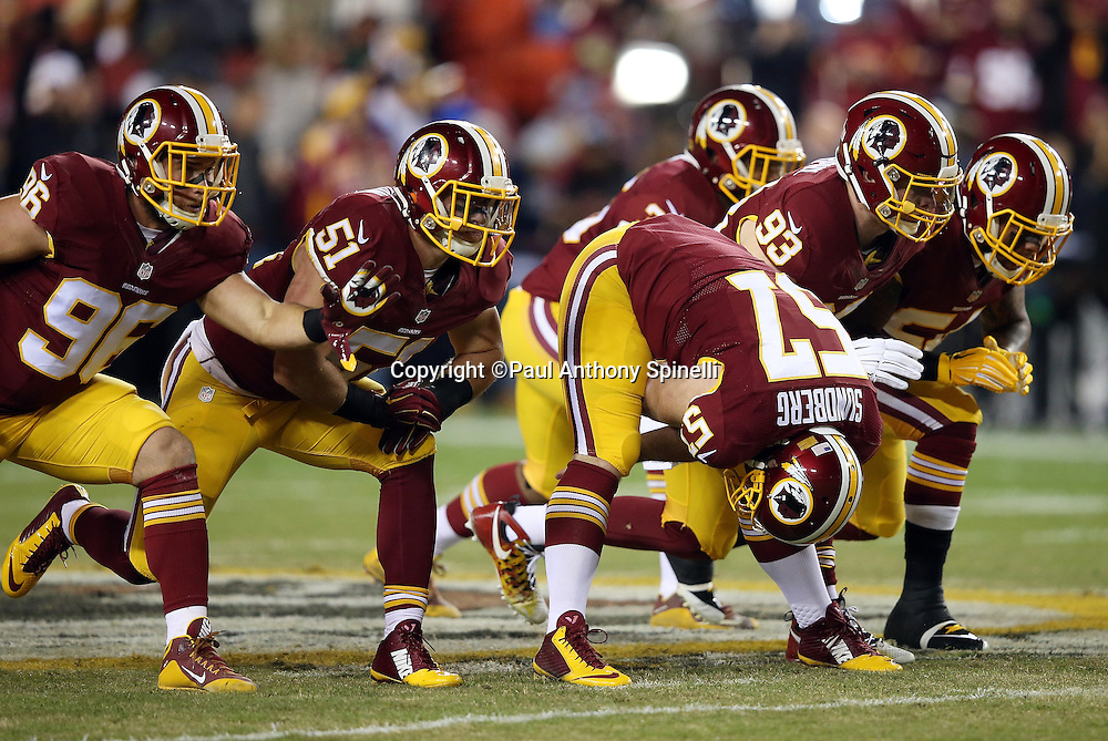 The Washington Redskins punt team warms up before the 2015 week 13 regular season NFL football game against the Dallas Cowboys on Monday, Dec. 7, 2015 in Landover, Md. The Cowboys won the game 19-16. (©Paul Anthony Spinelli)