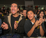 "Students and parents react to comments by telenovela actress Dulce Maria during a Televisa Foundation ""Live the Dream"" event at Burbank Middle School, December 9, 2013."