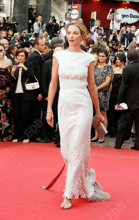 14.MAY.2011. CANNES<br /> <br /> UMA THURMAN ON THE RED CARPET FOR THE PIRATES OF THE CARIBBEAN: ON THE STRANGER TIDES PREMIERE AT THE 64TH CANNES INTERNATIONAL FILM FESTIVAL 2011 IN CANNES, FRANCE<br /> <br /> BYLINE: EDBIMAGEARCHIVE.COM<br /> <br /> *THIS IMAGE IS STRICTLY FOR UK NEWSPAPERS AND MAGAZINES ONLY*<br /> *FOR WORLD WIDE SALES AND WEB USE PLEASE CONTACT EDBIMAGEARCHIVE - 0208 954 5968*