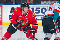 KELOWNA, BC - MARCH 02:  Lane Gilliss #9 of the Portland Winterhawks skates against the Kelowna Rockets  at Prospera Place on March 2, 2019 in Kelowna, Canada. (Photo by Marissa Baecker/Getty Images)
