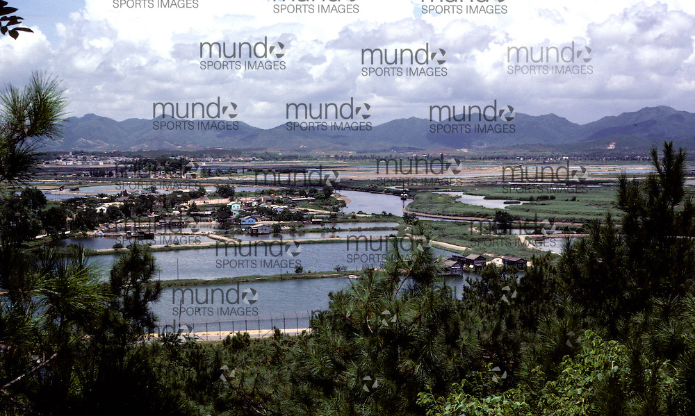 A view of fields and rice paddies in the New Territories of Hong Kong as seen in 1981.