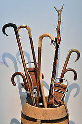 © Licensed to London News Pictures. 26/03/2016. A collection of walking and shooting sticks and a chimney adapted as a holder, 19th century and later, with an estimate of £800-1,200. The Duchess of Devonshire press preview at Sotheby's auction house.  The Duchess, Deborah Mitford, was the youngest surviving member of the six Mitford sisters, and died in September 2014. London, UK. Photo credit: Ray Tang/LNP