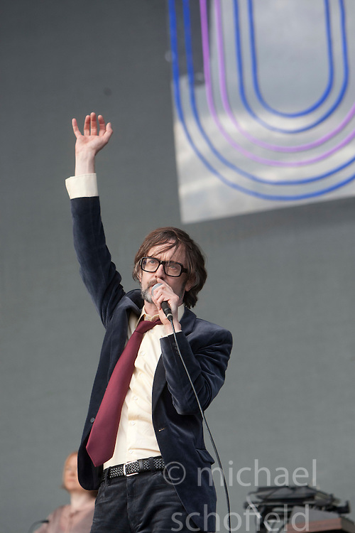 Jarvis Cocker of Pulp on the Main Stage..T in the Park on Sunday 10th July 2011. T in the Park 2011 music festival takes place from 7-10th July 2011 in Balado, Fife, Scotland..©Pic : Michael Schofield.