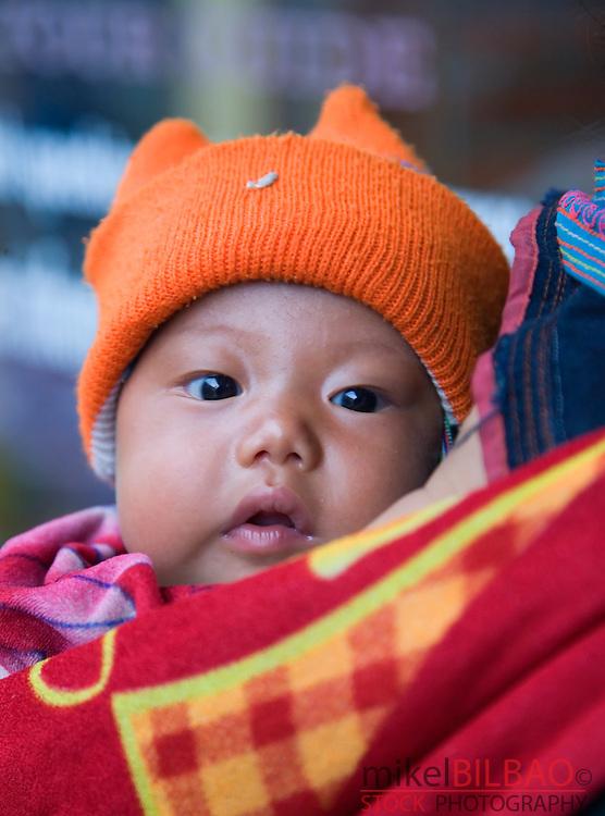 black hmong ethnic baby.<br /> Sapa, Lao Cai province, Vietnam.