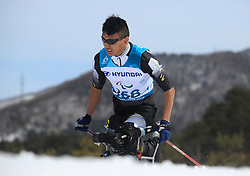 China's Mingyuan Du competes in the Men's 7.5km, Sitting Cross Country Skiing at the Alpensia Biathlon Centre during day eight of the PyeongChang 2018 Winter Paralympics in South Korea