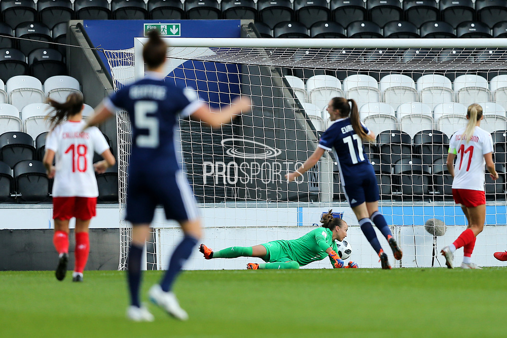 Gaelle Thalmann (#1) of Switzerland fails to hold onto the shot from Kim Little (#8) of Scotland resulting in a Scotland goal (2-0) during the 2019 FIFA Women's World Cup UEFA Qualifier match between Scotland Women and Switzerland at the Simple Digital Arena, St Mirren, Scotland on 30 August 2018.