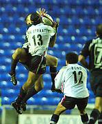 © Peter Spurrier/Intersport Images .Tel + 441494783165 email images@Intersport-images.com.30/11/2003 - Photo  Peter Spurrier.2003/04 Zurich Premiership Rugby - London Irish v Sale Sharks.Sharks Braam van Straaten and Exiles full back Michael Horak jump for the high ball.