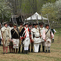 A re-enactment of the American Revolution's Continental Army marching in Jockey Hollow National Park, New Jersey, USA. Parts of the Continental Army wintered in Jockey Hollow in 1779-1782.<br /> <br /> For Editorial Purposes.