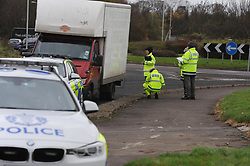 Police an other agencies stop and check vans and drivers at the Bankhead round-a-bout in Glenrothes<br /> <br /> (c) David Wardle | Edinburgh Elite media