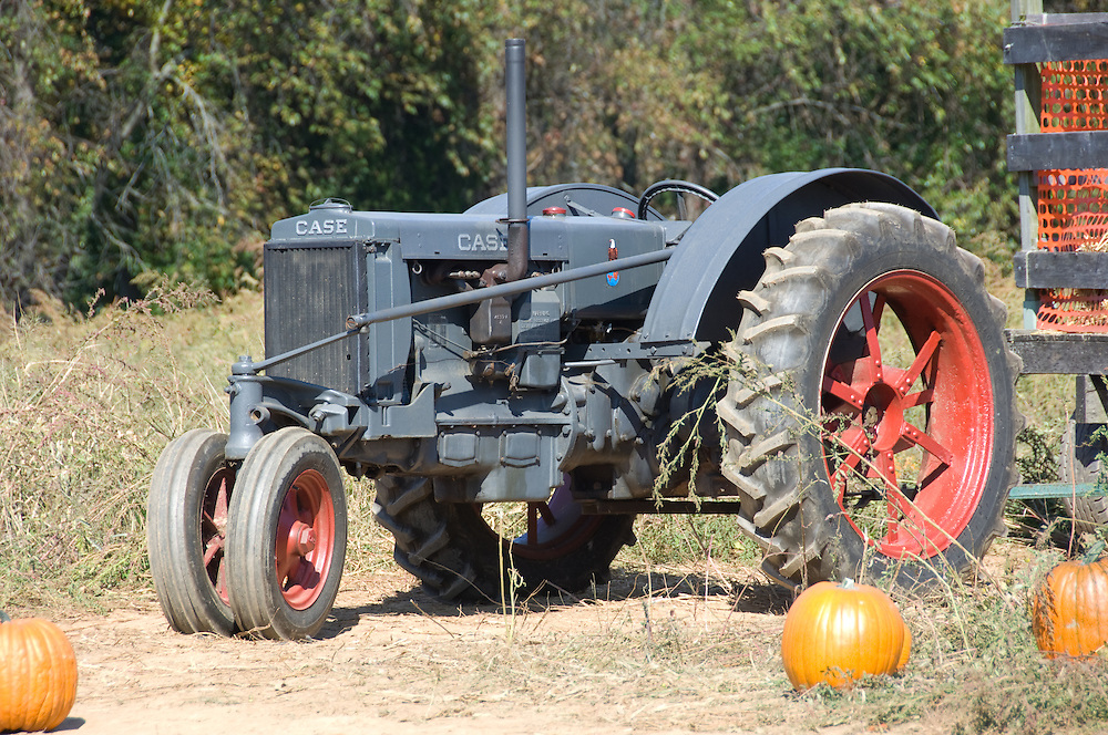 Tractor with pumpkins around