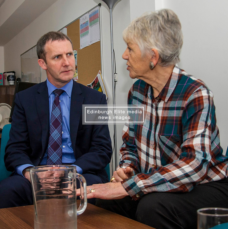 Pictured: Michael Matheson chats to Bea Jones, mother of Moira Jones and founder of The Moira Fund <br /> Justice Secretary Michael Matheson was in Edinburgh today to announce a GBP13.8 million three-year funding deal for Victim Support Scotland. Mr Matheson was joined by charity chief executive Kate Wallace and Bea Jones, mother of Moira Jones and founder of The Moira Fund who has been campaigning for this service. <br /> <br /> Ger Harley | EEm 19 April 2018