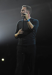 Chris Martin during the George Michael tribute on stage at the BRIT Awards 2017, held at The O2 Arena, in London.<br />